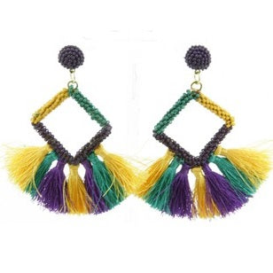 Purple, Green and Yellow Colored Tassel Seed Bead Diamond Earrings (Pair)