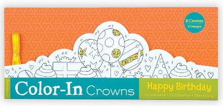 Happy Birthday Color In Crowns Set of 8 (Each)
