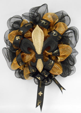 "24"" New Orleans Black and Gold Fleur de Lis Wreath (Each)"