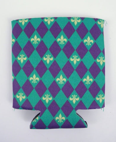 Purple Green and Yellow Harlequin Coozie with Fleur de Lis with Headercard (Each)