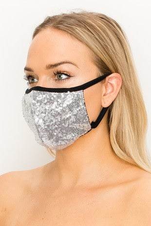 Silver Double Layered Sequin Mask (Each)