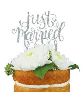 """Just Married"" Silver Glitter Cake Topper (Each)"