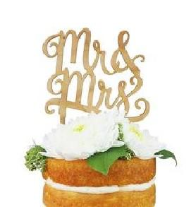 """Mr. and Mrs."" Cherry Wood Cake Topper (Each)"