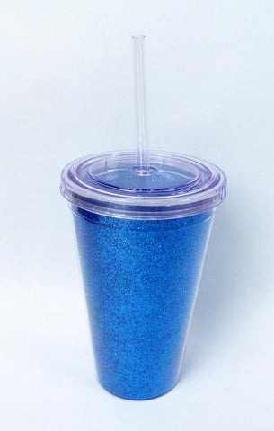 16oz Turquoise Glittered Tumbler with Straw (Each)