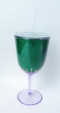 13oz Dark Green Acrylic Double Wall Wine Glass with Lid and Straw (Each)