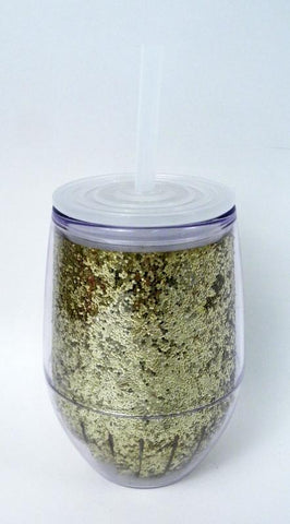 10oz Gold Glitter Acrylic Stemless Wine Glass with Lid and Straw (Each)