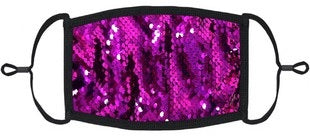 Fuchsia Sequins on Black Fabric Face Mask (Each)