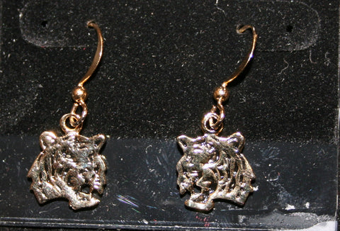Gold Tone Tiger Head Earrings (Each)