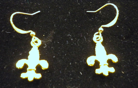 Gold and Crystal Fleur de Lis Earrings (Pair)