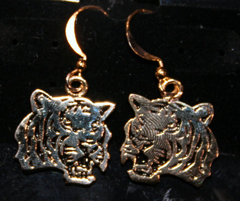 Gold Tone Tiger Face Earrings (Each)