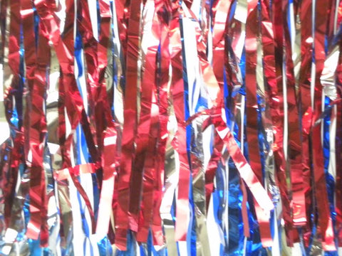 "Blue, Red and Silver Metallic Fringe 15"" x 10' (Pack)"