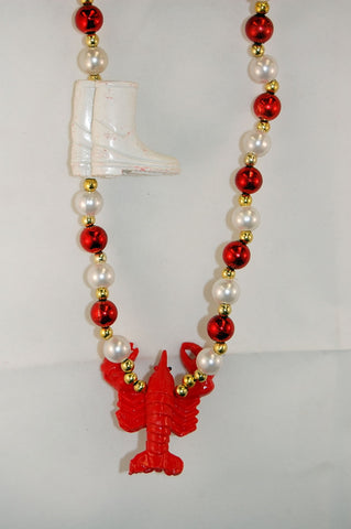 "42"" Crawfish with Boots Mardi Gras Beads (Each)"