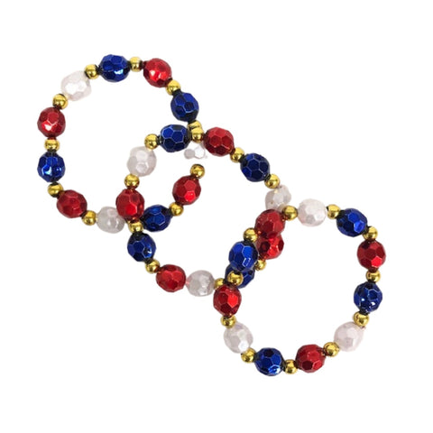 Red White and Blue Stretchy Metallic Berry Bead Bracelets (Dozen)