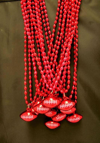 "33"" 6 x 9mm Oval Red Bead with Football Pendant (Dozen)"