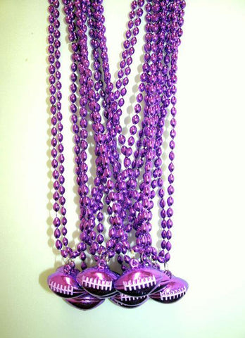 "33"" 6 x 9mm Oval Purple Bead with Football Pendant (Dozen)"
