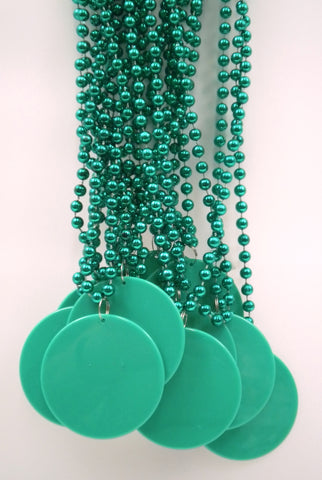 "33"" 7mm Metallic Green Bead Necklace with 2.5"" Green Disc (10 Dozen)"