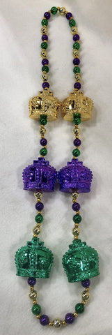 Purple, Green and Gold Necklace with Crowns (Dozen)