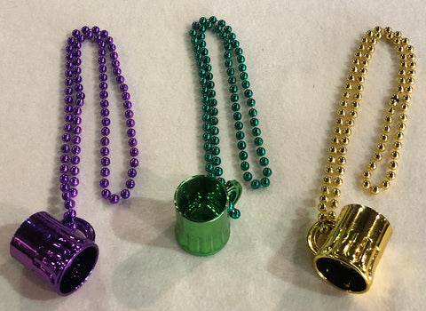 Purple, Green, and Gold Assorted Beer Mug Necklace (Each)