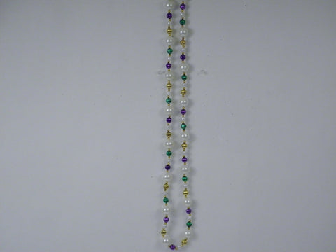 "52"" 25mm Pearl White Necklace with Alternating Purple, Green and Gold Beads (Each)"