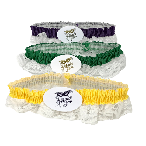 Assorted Purple, Green and Gold Garters with White Lace (Dozen)