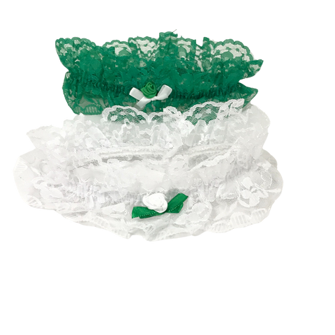 Green and White Lace Garter (Dozen)