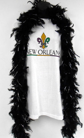6' Black Boa with Silver Tinsel (Each)