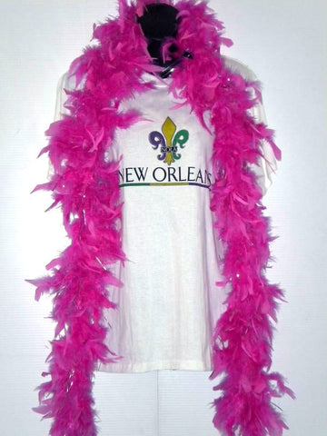 6' Hot Pink Boa with Silver Tinsel (Each)