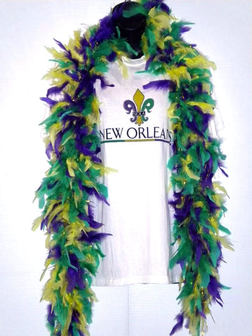 6' Purple, Green and Gold Boa with Gold Tinsel (Each)