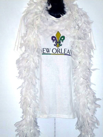 6' White Boa with Silver Tinsel (Each)
