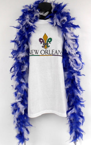 6' Royal Blue and White Boa (Each)