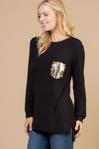 Black Long Sleeve Shirt with Gold Glitter Pocket - Plus Size (Each)