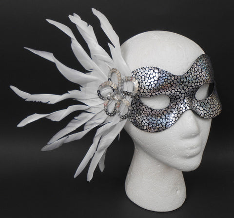 Silver Spotted Mask with Silver Flower and White Feathers and Ribbon Tie (Each)