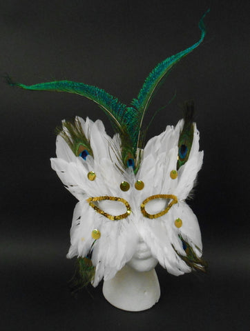White Butterfly Feather Mask with Peacock Feathers with Elastic Band (Each)