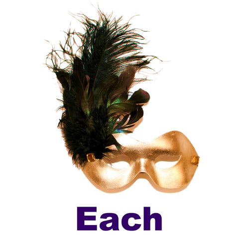 Metallic Light Gold Mask with Black Feathers and Gold Stones with Elastic Band (Each)