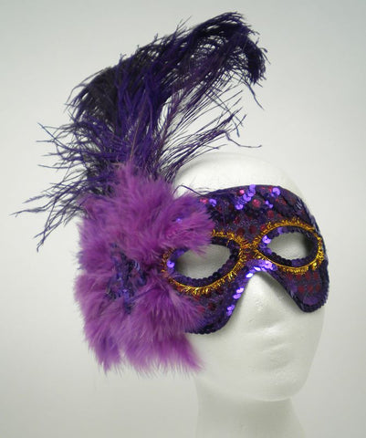 Purple Sequin Mask with Purple Feathers and Ribbon Tie (Each)