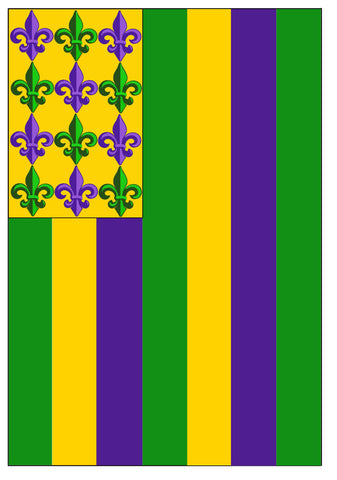 Purple, Green and Gold Striped Garden Flag with Fleur De Lis (Each)