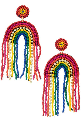 Rainbow Fringe Seedbead Earrings (Pair)