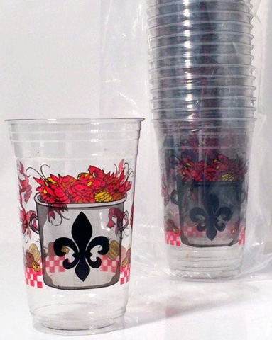 Crawfish Boil with Fleur De Lis Disposable Cups (50 per Sleeve)