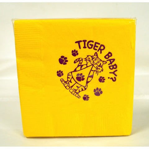 Tiger Baby Yellow with Purple Beverage Napkins (25 Pack)