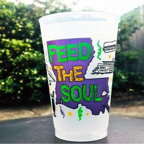 20oz Purple, Green and Gold Feed the Soul Frost Flex Cups (Sleeve of 25)