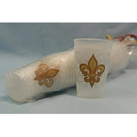 16oz Gold Fleur De Lis and Swirls Frost Flex Cup (Sleeve of 25)