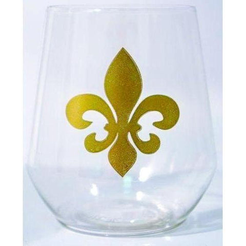 Fleur de Lis Stemless Wine Glass (Pack of 6)