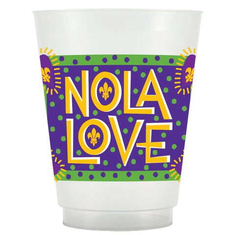 16oz NOLA Funky Love Mardi Gras Frost Flex Cup (Pack of 25)