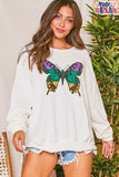 White Long Sleeve Sweatshirt with Purple, Green and Yellow Butterfly Graphic Print (Each)