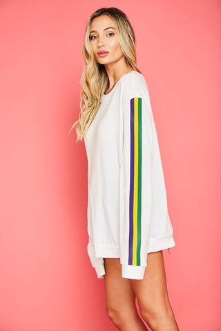 Off White Long Sleeve French Terry Knit Top with Mardi Gras Stripe on Sleeve (Each)
