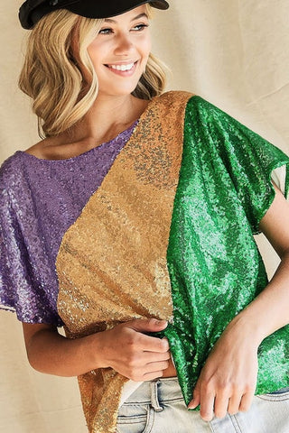 Purple, Green and Gold Sequin Short Sleeve Shirt (Each)