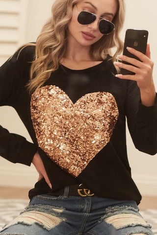 Rose Gold Glitter Heart on Black French Terry Long Sleeve Shirt (Each)