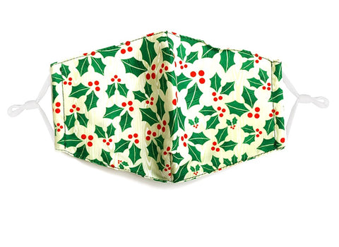 Red and Green Christmas Holly Face Mask (Each)