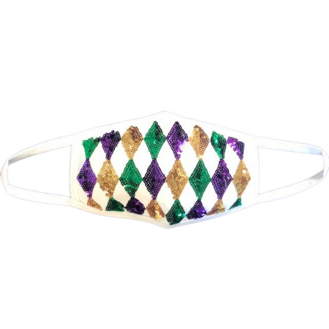 Purple, Green and Gold Sequin Harlequin Design on White Mask (Each)