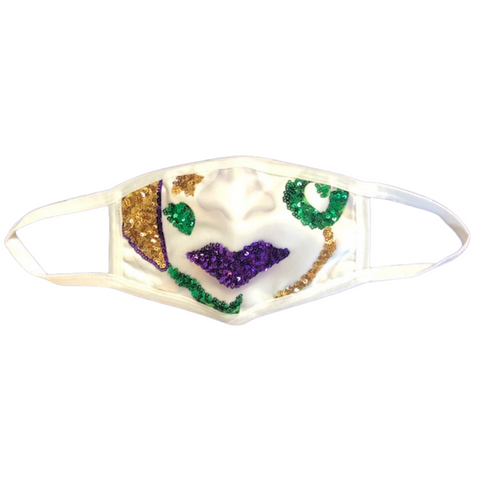 Purple, Green and Gold Porcelain Face on White Mask (Each)